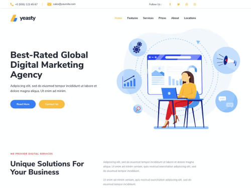 Yeasty – Marketing Agency & Advertising Service – Template Kit